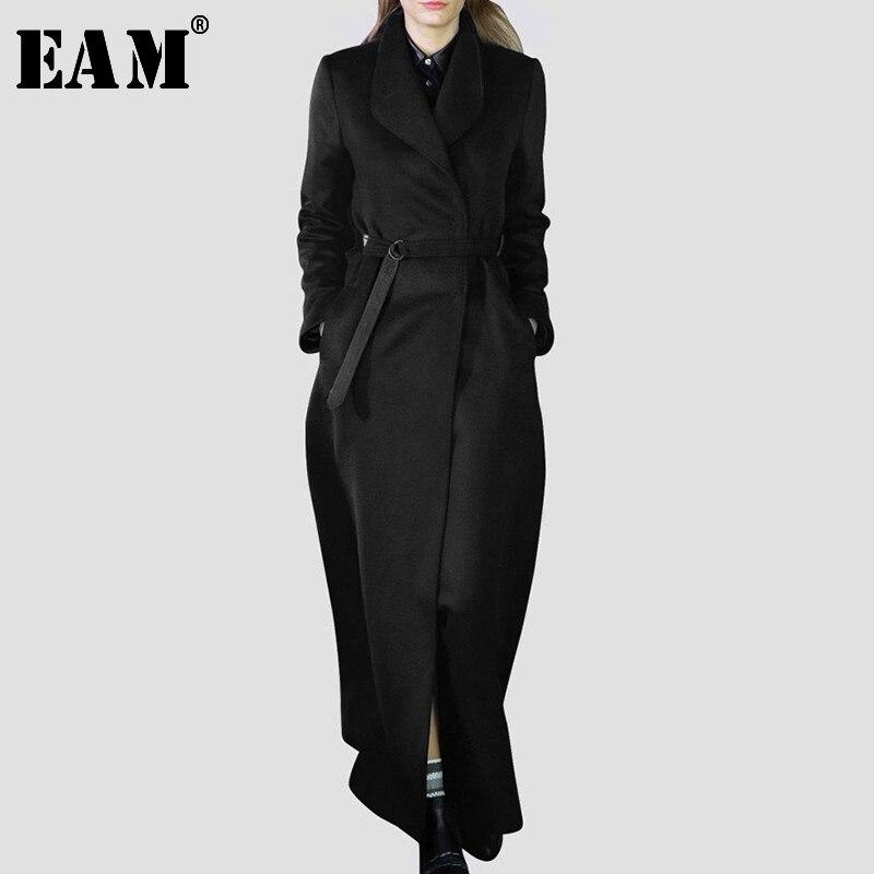 [EAM] 2019 New Spring Lapel Printed Cowboy Split Joint Loose Long Big Size Denim Jacket Women Coat Fashion Tide W0145