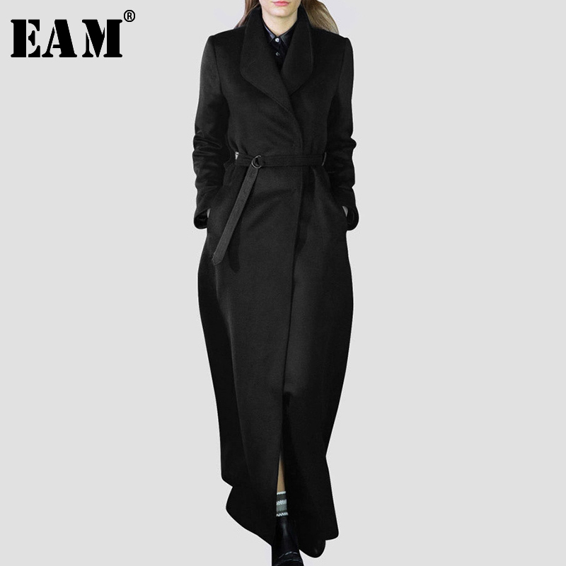 [EAM] Loose Fit Black Long Waist Bandage Woolen Coat Parkas New Lapel Long Sleeve Women Fashion Tide Spring Autumn 2020 LA963