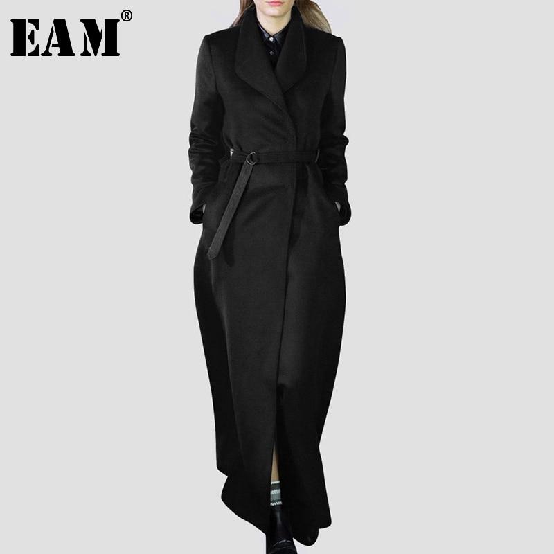 [EAM] Loose Fit Black Long Waist Bandage Woolen Coat Parkas New Lapel Long Sleeve Women Fashion Tide Autumn Winter 2020 LA963