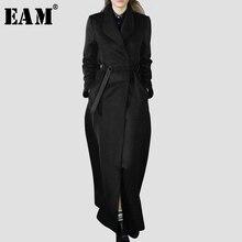 Женское шерстяное пальто EAM, черное Свободное пальто с длинным рукавом и отложным воротником, весна осень 2020