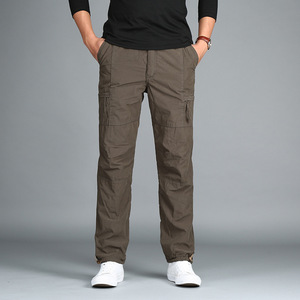 Image 3 - גברים של צמר מכנסיים מטען חורף עבה חם מכנסיים מלא אורך רב כיס מזדמנים רחבה צבאי טקטי מכנסיים בתוספת גודל 3XL