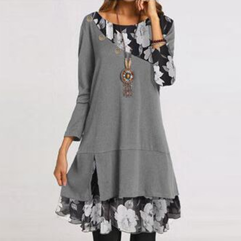 2021 Hot Selling Women Fashion Chiffon Printed Loose Plus Size Dress Print Leisure Style Tunic Elegant Long Sleeve Dresses