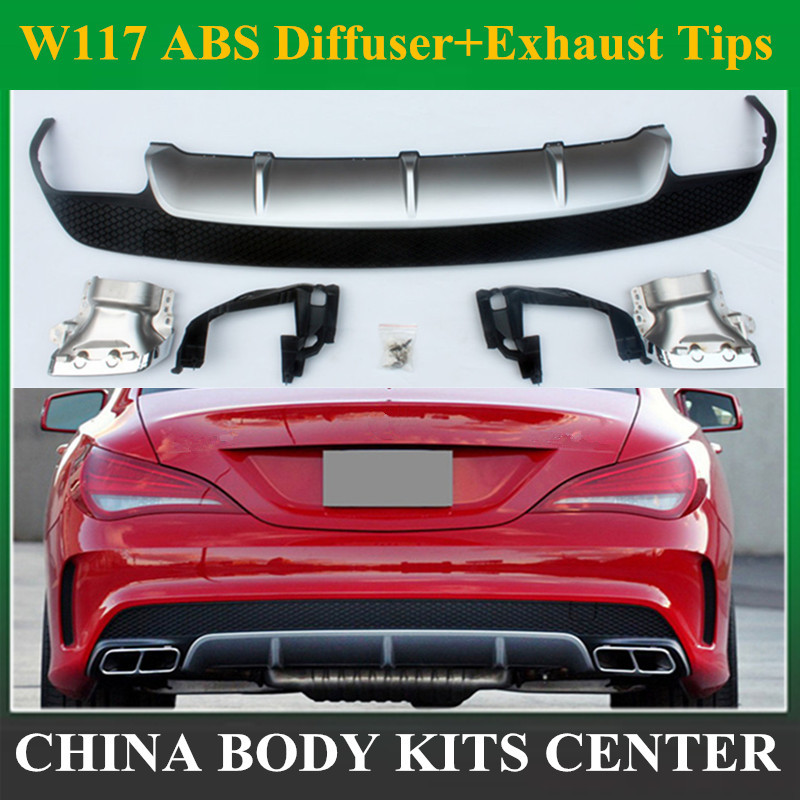 For Mercedes Benz CLA W117 CLA180 CLA200 <font><b>CLA250</b></font> CLA45 Carbon Fiber Red Line Rear Diffuser CLA45 AMG Package 2013 -2015 image