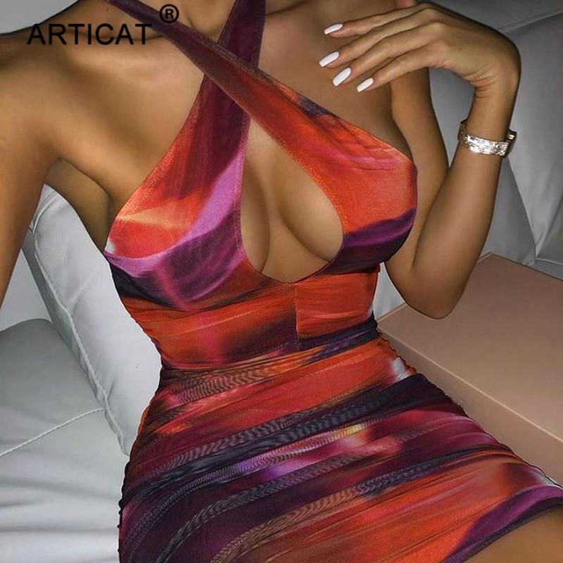Articat 2021 New Tie Dye Bodycon Dress For Women Party Night Vestidos Cross Lace Up Backless Mini Dress Ladies Elegant Clubwear