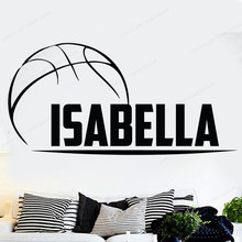 цена на Custom name basketball wall decal Basketball wall sticker vinyl personalized ball home wall decor JH116