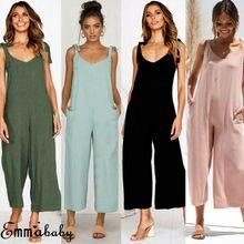 Hirigin Summer Women Casual Loose Linen Cotton Jumpsuit Sleeveless Backless Wide-Leg Playsuit Trousers Overalls