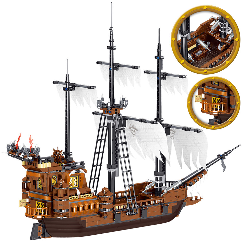 Pirates Of The Caribbean Boat Model Building Blocks Middle Ages Ship Bricks Toys Gift For Children