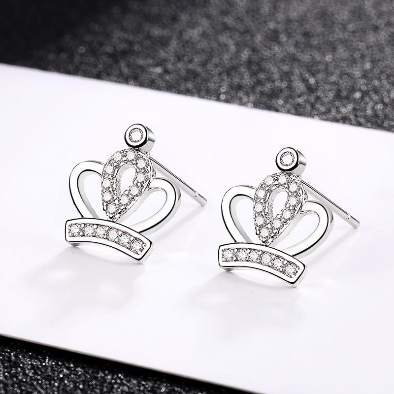 Xiaojing 925 Sterling Silver Luxury Crown Earrings Clear Zircon Stud Earrings for Women 2020 Valentine\'s Jewelry Gift Free Ship