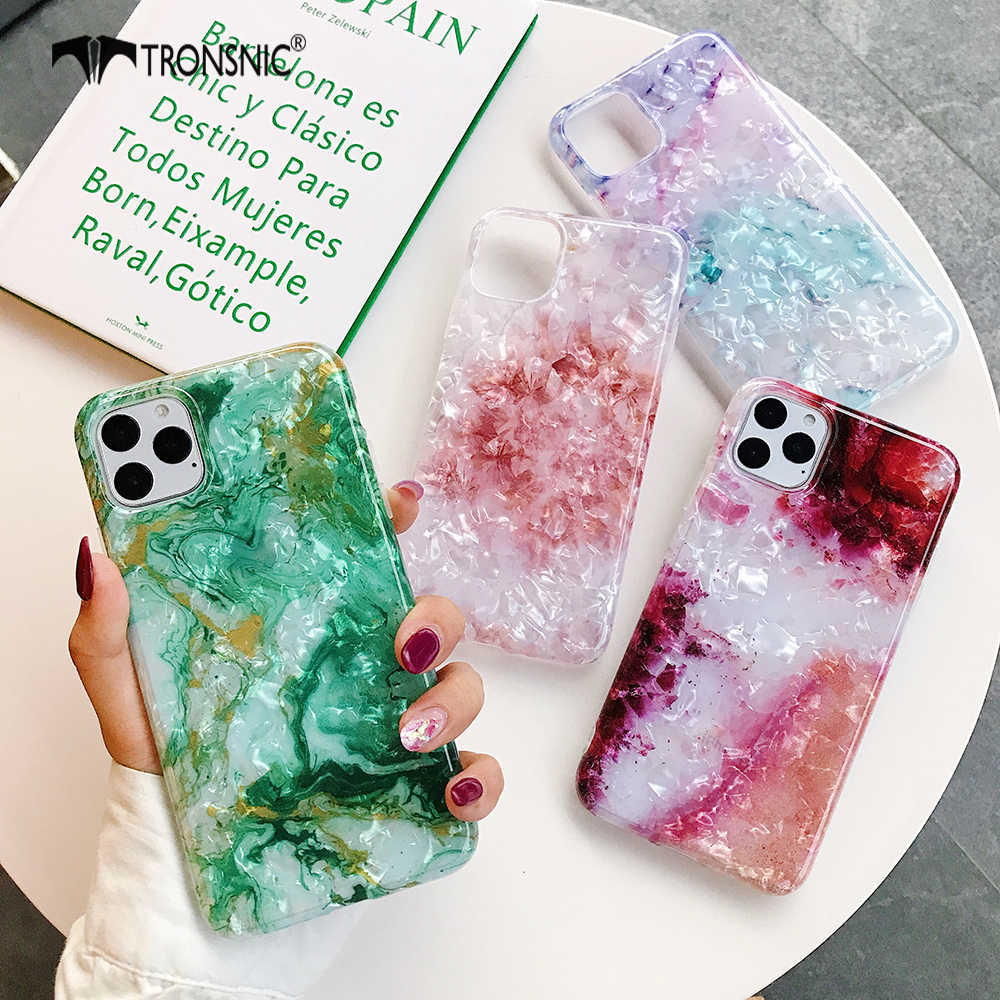 Texture Marble Glossy Phone Case for iPhone 11 Pro Max XR X XS MAX Soft Green Red Luxury Case for iPhone 6 6s 7 8 Plus Cover Hot