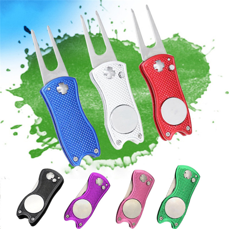 Stainless Steel Golf Divot Repair Tool Switchblade Foldable Golf Pitchfork Putting Green Fork Golf Training Aids Pitch Tool