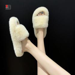 Winter Women House Furry Slippers Fashion Faux Fur Warm Shoes Women Slip on Flats Female Home Slides Black Plush Indoor Outdoor