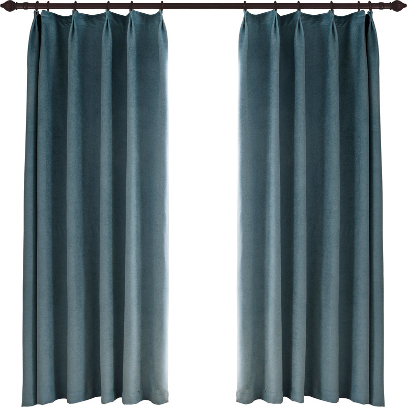 Modern Black Out Curtains High Shading Thicken Chenille Blend Fabric Living Room Customized Finished Draped Curatin