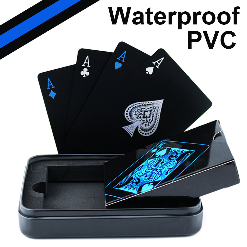 Sales Waterproof PVC Plastic Playing Cards Poker Classic Magic Tricks Tool Pure Black Magic Box-packed Home Party Activities D40