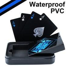 방수 PVC 플라스틱 카드 놀이 포커 클래식 매직 트릭 도구 순수 블랙 매직 박스 포장 홈 파티 활동 D40