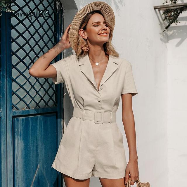 Short sleeve buttons cotton linen female romper