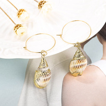 Fashion 2019 Boho Simple Gold Round Circle Drop Earrings For Women Bohemian Conch Shell Dangle Earring Beach Vacation Jewelry new boho gold conch shell chain presents