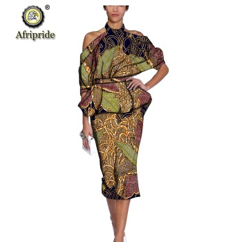 2019 African dresses for women dashiki print women dress party dress halter spaghetti strap formal clothes AFRIPRIDE S1925069 chic halter fishtail floral print sheath dress for women