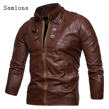 Fashion Mens Pu Leather Jackets Motorcycle Jacket Biker Zipper Faux Leather Coats 2020 Autumn Plus size Overcoat Men Clothing 2020 pu leather parkas women fashion hooded faux leather coats women elegant zipper cotton jackets female ladies clothing c20