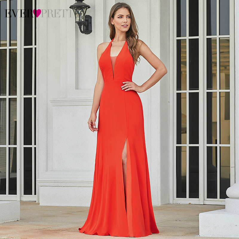 Sexy Evening Dresses Long Ever Pretty EP07247OR V-Neck Side Split Sleeveless Formal Evening Party Gowns Robe De Soiree 2020