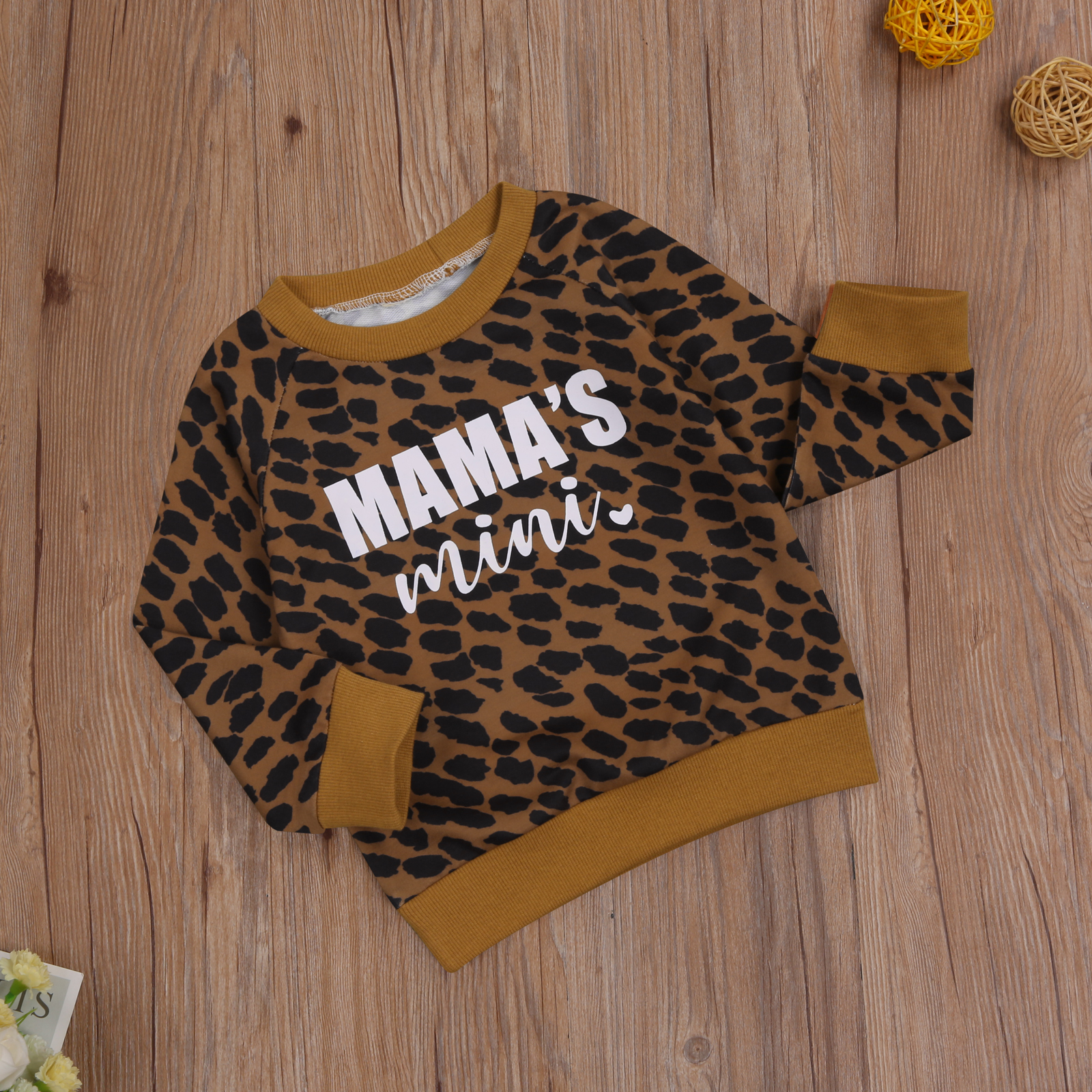 Ma&Baby 0-3Y Autumn Winter Toddler Baby Kid Girls Boys Leopard Sweatshirts Long Sleeve Letter MAMA'S MINI Casual Baby Clothes 5