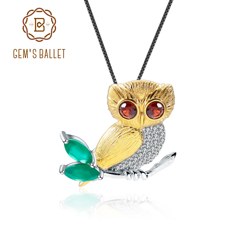 GEM'S Ballet 0.33Ct Natural Rhyolite Rock Garnet Pendant 925 Sterling Silver Owl Pendant Necklace For Women's Fine Jewelry.