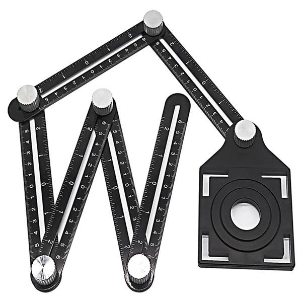 Multi Angle Measuring Ruler Alloy Adjustable 6-sides Ruler Floor Tile Hole Locator Glass Woodworking Universal Puncher Tool