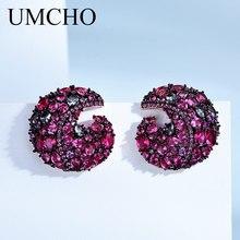 UMCHO จริง 925 เงินสเตอร์ลิงต่างหูสร้าง NANO พลอยสีสันต่างหูสำหรับผู้หญิงงานแต่งงานของขวัญเครื่องประดับ Fine