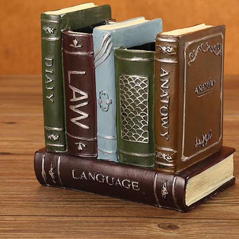 Retro desktop resina livro alto-falante modelo de câmera artesanato desktop armazenamento caneta titular vaso presente ornamentos decoração para casa
