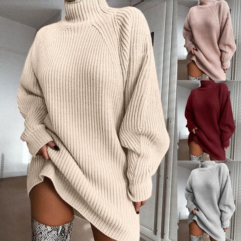 Winter Knitted Women Sweater Dress Casual Mid-length Turtleneck Pullovers Knit Sweater Women Plus Size Knit Sweaters Oversize