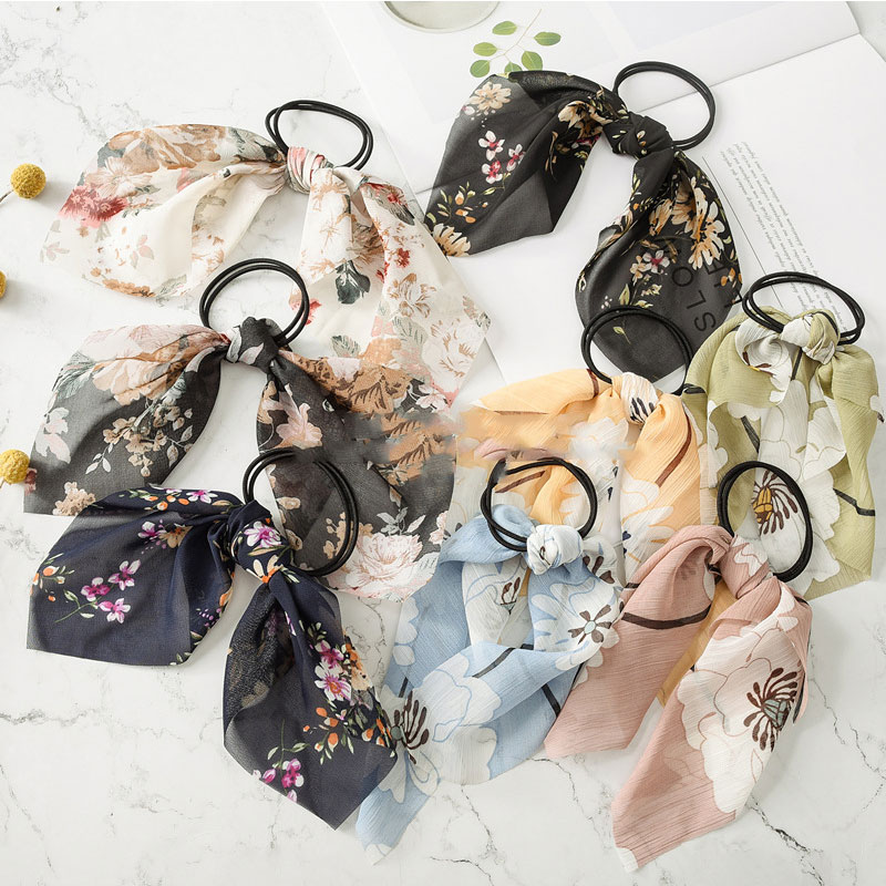 Vintage Floral Printed Hair Rope Bow Knotted Elastic Hair Bands For Women Girls Elegant Scrunchie Rubber Bands Hair Accessories