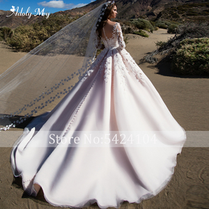 Image 2 - Adoly Mey Romantische Scoop Ansatz Halbe Hülse A Line Hochzeit Kleid 2020 Wunderschöne Appliques Blumen Prinzessin Angepasst Hochzeit Kleid