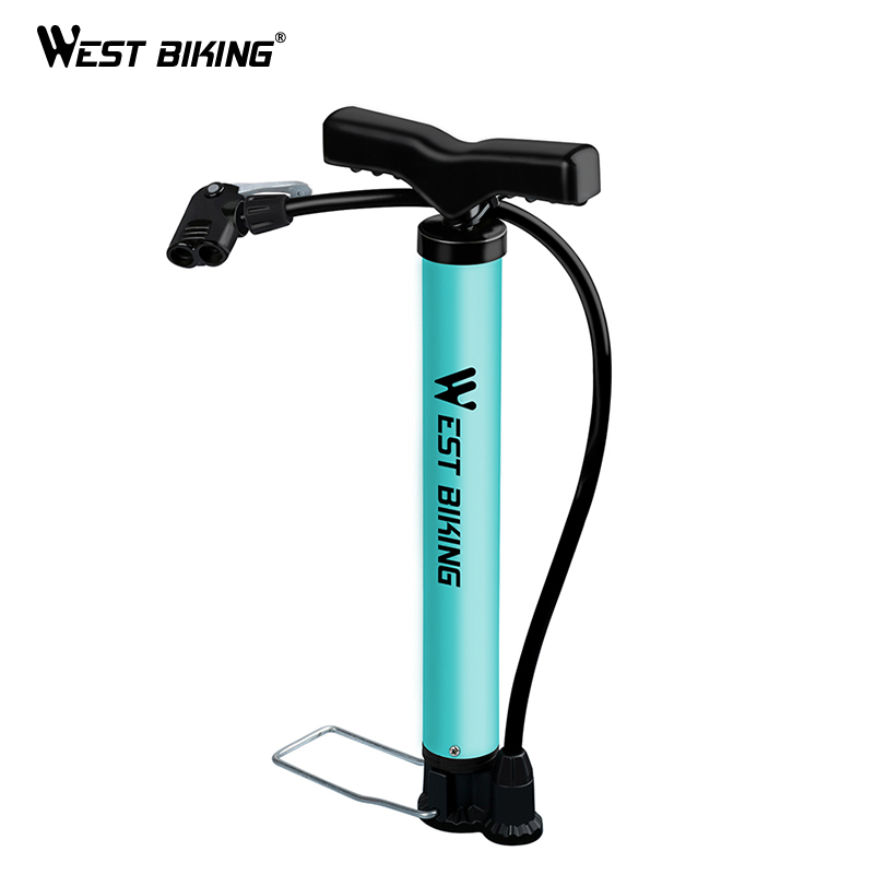 WEST BIKING Bike Pump 120/160PSI Steel Turquoise Cycling Pump Air Inflator Schrader Presta Valve Road MTB Bike Tire Bicycle Pump