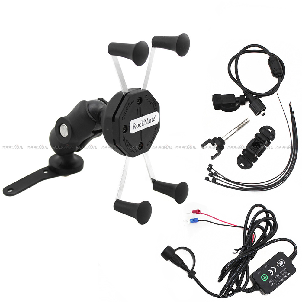 For YAMAHA MT03 MT25 MT-15 M-SLAZ SMAX 155 <font><b>XMAX</b></font> <font><b>300</b></font> YBR125 Camera VCR <font><b>Phone</b></font> <font><b>Holder</b></font> Motorcycle USB Charger GPS Navigation image