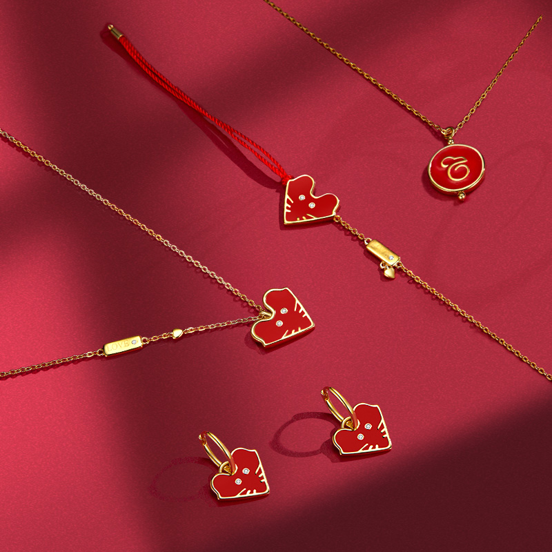 Bamoer 925 Sterling Silver Red Enamel Mouse Jewelry Sets Pendant Necklace Earrings And Red Rope Bracelet 2020 New ZHS190
