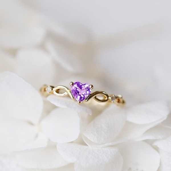 FXM new Trend Purple Crystal Twisted Fashion Heart Shaped Wedding Ring Womens Golden Elegant Engagement