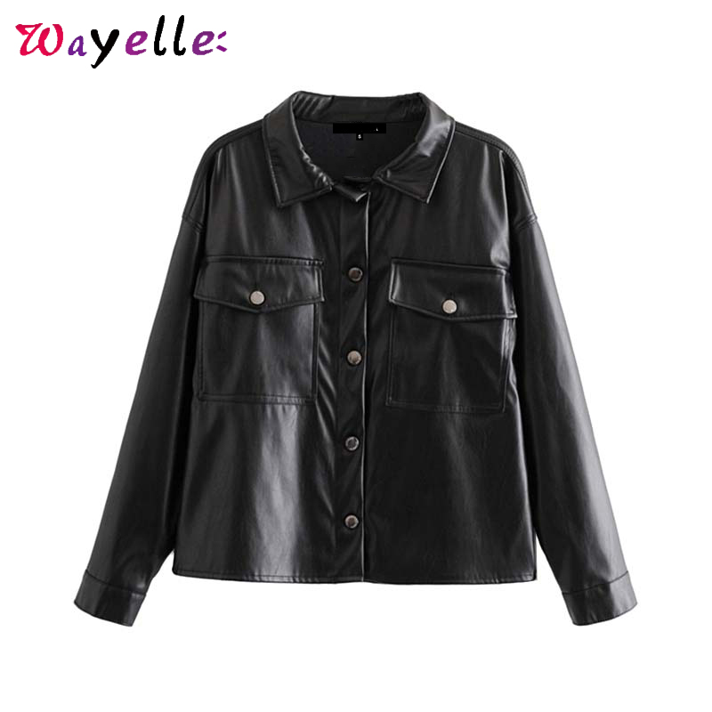 PU Faux Leather Shirt Women Black Tide Pocket Overshirt Lapel Collar Long Sleeve Lady Coats Vintage Classic Basic Crop Top Women