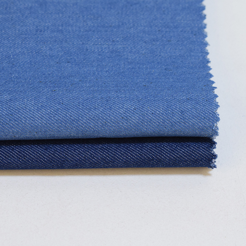 Twill woven shandong denim fabric 35% polyester 65% cotton washed for jeans coat