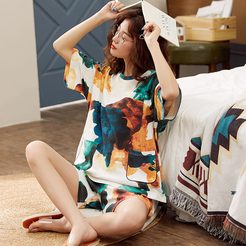 InsHot Summer Cotton Shorts ThinTrend Tracksuit ONeck Skin-friendly Breathable Summer Printing Casual Women Pajamas Leisure Wear