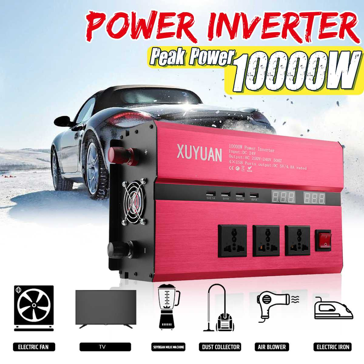 KROAK Car Inverter 12V 220V 10000W Solar Power Inverter Sine Wave Inverter Car Invensor AC 110V Convertor Voltage Transformer