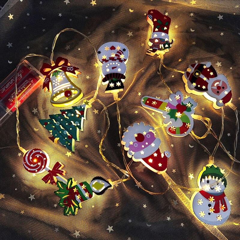 Santa Claus LED Light Merry Christmas Decorations For Home Christmas Tree Hanging Ornaments Garland Xmas Navidad New Year Gifts