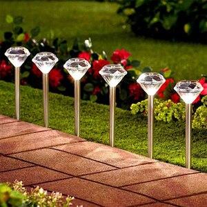 Solar light LED lawn lamp straight pole diamond lamp outdoor waterproof garden park villa path landscape decoration lighting