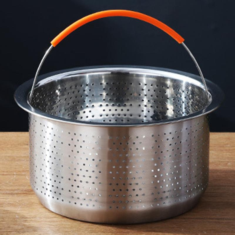 Practical Stainless Steel Rice Cook Pressure Cooker Durable Wear Resistance Fruits Cleaning Drainer Household Steamers