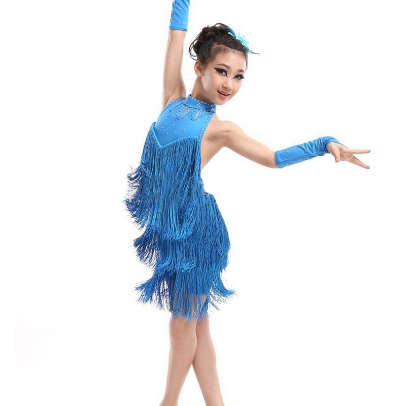 Kids Tasseled Ballroom Latin Salsa Dancewear Girls Party Dance Costume Dress 5-11 Years Old Stage & Dance Wear*