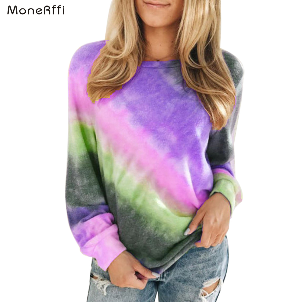 MoneRffi 2020 Women Sweatshirt Long-sleeve Hoodie Autumn Gradient Printed O-Neck Casual Oversized Pullover Hoodies Plus Size