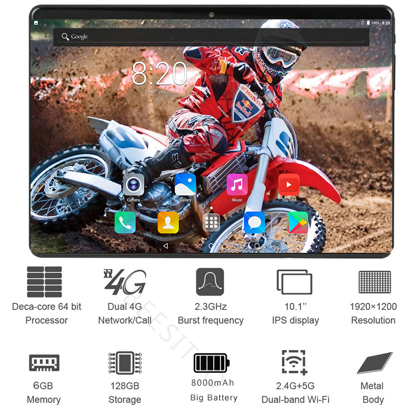 Global Version 6GB+128GB 10 Inch Tablet Deca Core 8000mAh 1920x1200 2.5D Glass IPS 8MP Android 9.0 Youtube Media Pad WIFI GPS