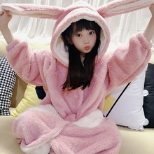 2020 Autumn and Winter New Children's Nightgown Baby Princess Coral Velvet Flannel Girl Cute Thick Warm Rabbit Ears