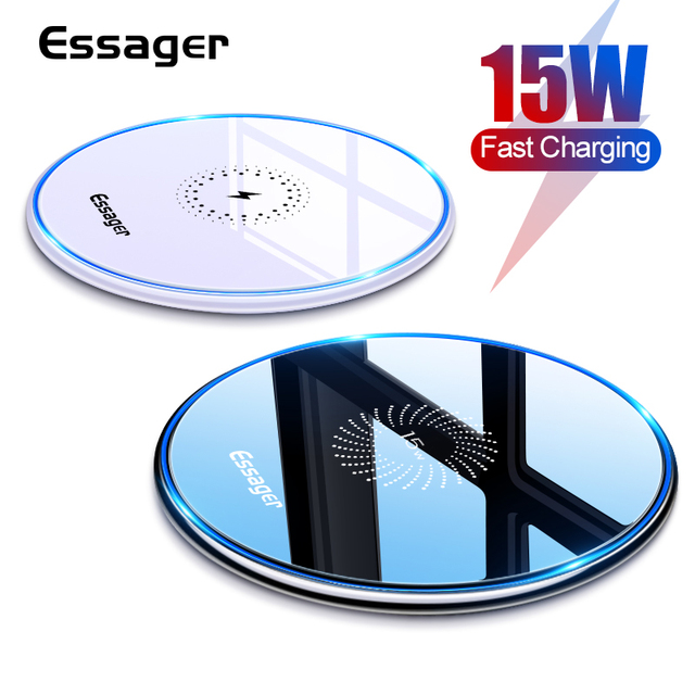 Essager 15ワットチーワイヤレス充電器12 11プロxs最大ミニx xr 8誘導高速ワイヤレス充電パッドサムスンxiaomi