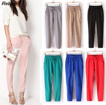 Hot Sale Casual Women Chiffon Pants Elastic Waist Solid Color Office OL Summer Slim Lady  AB17