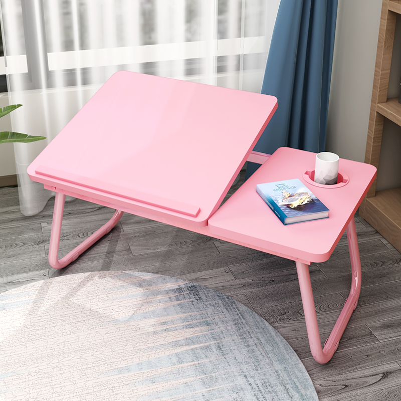 Folding Table Dormitory Mini Multi-function Bed Laptop Table Can Be Placed Cup Storage Desk Lazy Storage WF1018320