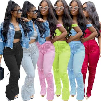 CM.YAYA Sport Solid Women two piece set Tracksuits off shoulder crop tops stacked flare jogger pants Suit Outfits Matching Set 1